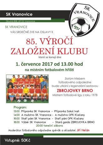 Výročí fotbalu SK Vranovice